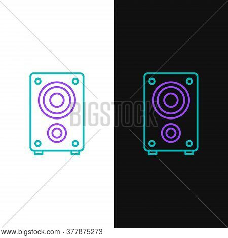 Line Stereo Speaker Icon Isolated On White And Black Background. Sound System Speakers. Music Icon.