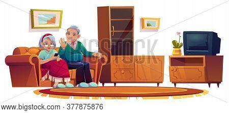 Old People In Room In Nursing Home. Elderly Woman Calling On Mobile Phone. Vector Cartoon Illustrati