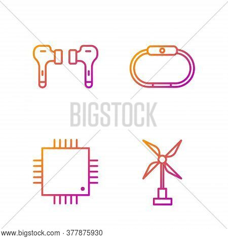 Set Line Wind Turbine, Processor With Microcircuits Cpu, Air Headphones And Smartwatch. Gradient Col