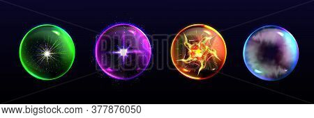 Magic Spheres, Crystal Balls Of Different Colors With Sparkles, Glow, Plasma And Mystical Fog Inside