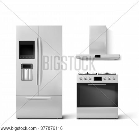 Smart Fridge, Gas Oven And Hood Kitchen Appliances. Two-chambered Refrigerator With Wifi, Digital Di