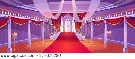Hall Interior With Staircase In Medieval Royal Castle. Vector Cartoon Illustration Of Empty Hallway
