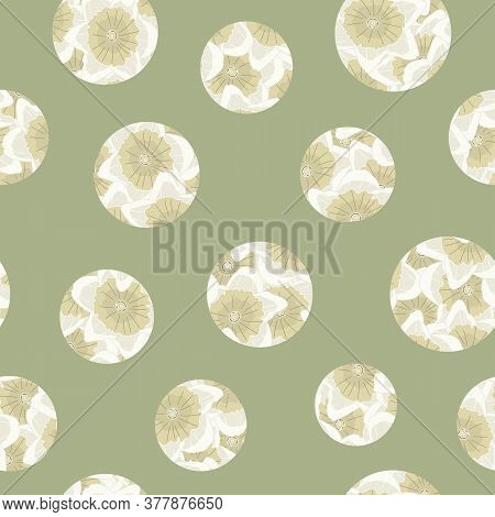 Vector Floral Daffodil Circles In Yellow Beige Scattered On Green Background Seamless Repeat Pattern