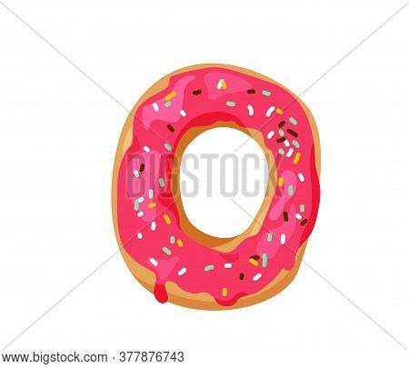 Delicious Yummy Donut With Colorful Sprinkles Isolated On White Background. I Choose Sweet Positive