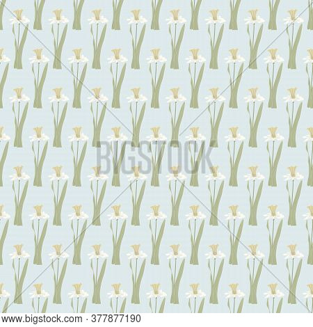 Vector Daffodil Flowers In Yellow Beige On Light Blue Background Seamless Repeat Pattern. Background