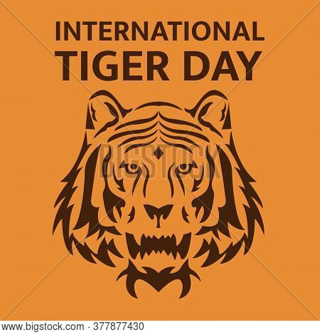 Illustration Vector Design Of International Tiger Day. Only Tiger's Head
