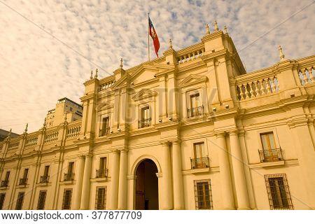 Palacio De La Moneda, Or La Moneda, Chilean Presidential And Government Palace At Downtown In Santia