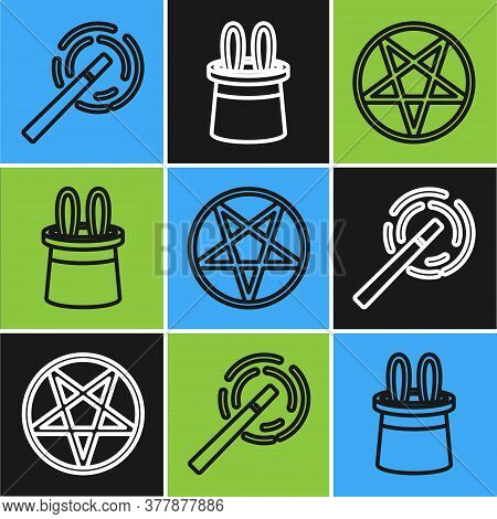 Set Line Magic Wand, Pentagram In A Circle And Magician Hat And Rabbit Ears Icon. Vector