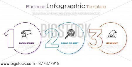 Set Line Cannon, Magic Wand And Witch Hat. Business Infographic Template. Vector