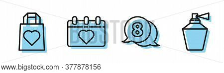 Set Line 8 March In Speech Bubble, Shopping Bag With Heart, Calendar With 8 March And Perfume Icon.