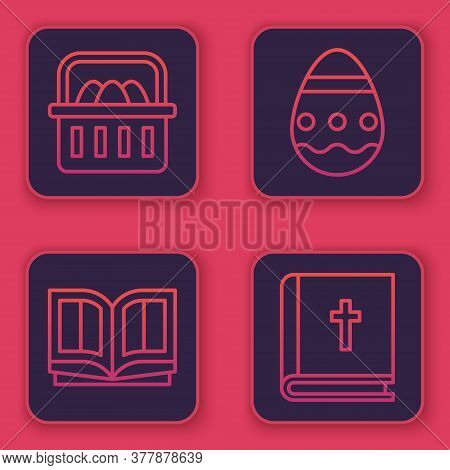 Set Line Basket With Easter Eggs, Holy Bible Book, Easter Egg And Holy Bible Book. Blue Square Butto
