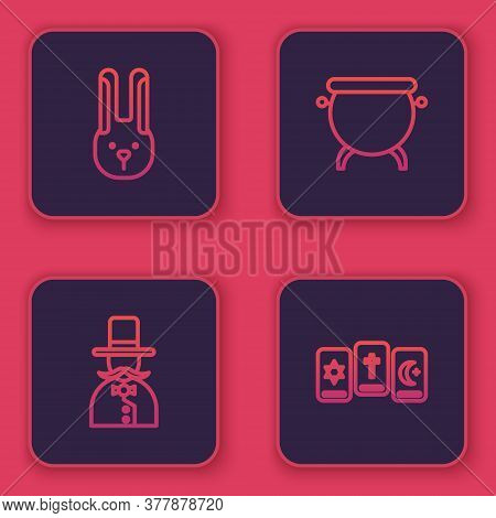 Set Line Rabbit With Ears, Magician, Witch Cauldron And Three Tarot Cards. Blue Square Button. Vecto
