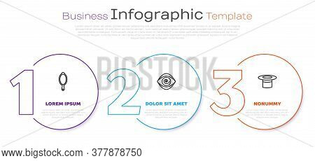 Set Line Magic Hand Mirror, Hypnosis And Magician Hat. Business Infographic Template. Vector