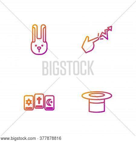 Set Line Magician Hat, Three Tarot Cards, Rabbit With Ears And Spell. Gradient Color Icons. Vector