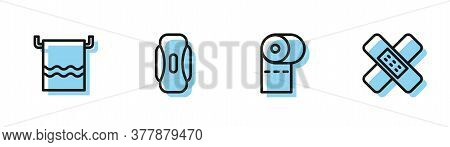 Set Line Toilet Paper Roll, Towel On Hanger, Sanitary Napkin And Crossed Bandage Plaster Icon. Vecto