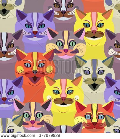 Seamless Pattern With Bright Cute Cats. Endless Texture With Cartoon Animal Faces. Children's Print.