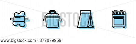 Set Line Bag Of Coffee Beans, Rolling Pin On Dough, Cooking Pot And Oven Icon. Vector