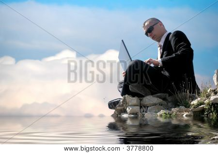 Men With His Laptop