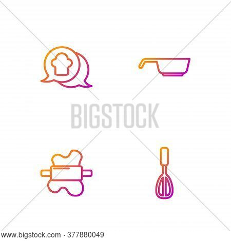 Set Line Kitchen Whisk, Rolling Pin On Dough, Chef Hat Speech Bubble And Frying Pan. Gradient Color