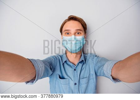 Self-portrait Of His He Nice Attractive Blonde Guy Wearing Safety Gauze Mask Mers Cov Influenza Cont
