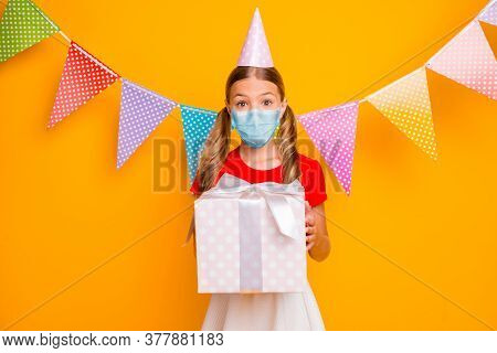 Portrait Of Her She Nice Blonde Girl Wearing Safety Gauze Mask Holding In Hands Giftbox Stop Festal