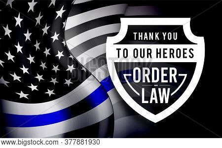 Thin Blue Line Usa Flag. Police Symbol. Vector Illustration
