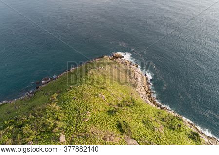 Tropical Sea With Wave Crashing On Seashore And High Mountain Located At Laem Krating Viewpoint New