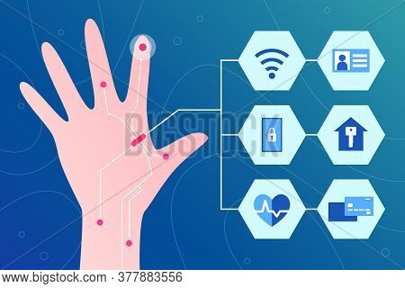 Cybernetics And Future Biotechnology. Chip Implant In Human Finger. Man Managements His Daily Life B