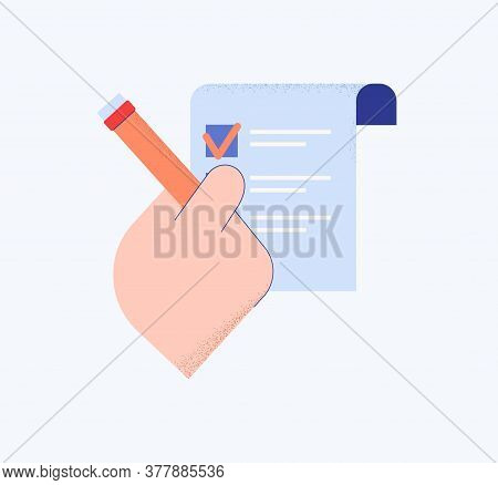 Hand With List In Questionnaire. Right Choosing