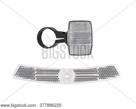 Set Of Bike Cataphotes Isolated On White Background. Bicycle Reflectors