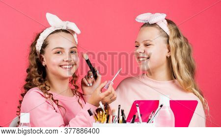 Young And Free. Beauty Portrait Of Two Children With Natural Make Up And Healthy Skin. Happy Childre
