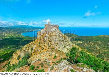 Iconic View Of Volterraio Castle On Rock At 394 M. Fortress Of Volterraio, Symbol Of Elba Island, Do