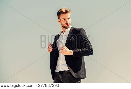 Fashion Shop. Young Entrepreneur Businessman. Hipster With Beard. Businessman Against Blue Sky. Futu