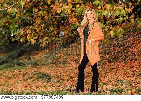 Cozy And Comfortable. Cozy Outfit Ideas For Weekend. Girl Adorable Blonde Posing In Warm And Cozy Ou