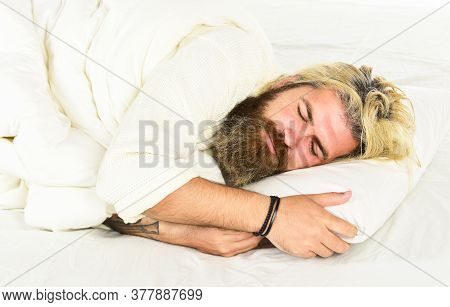 Bearded Mature Man Lying On Bed At Home. Carefree Guy Enjoying A New Day. Good Morning Routine. Cauc