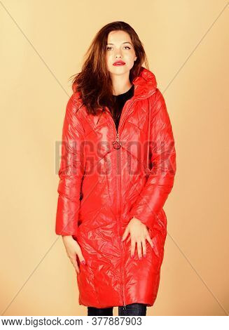 Shop For Quality. Girl Enjoy Wearing Bright Jacket. Warm Coat. Fashion Model. Comfortable Down Jacke
