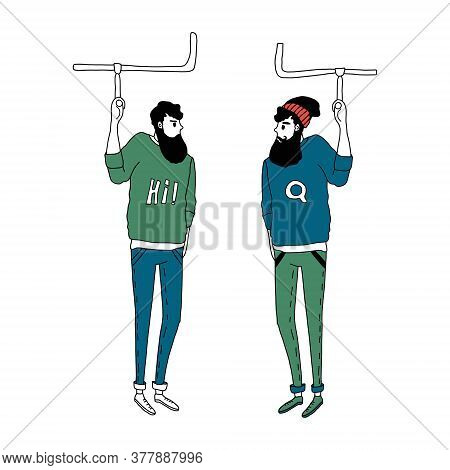 Two Hipster Men Drive Underground And Look At Each Other. Vector Illustration In A Simple Flat Style