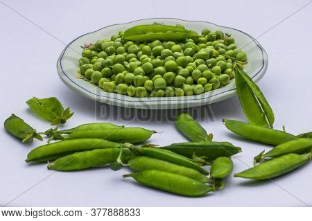 Green Peas. Green Background. Peas Background. Top View.green Pea In Bowl On White Background Copy S