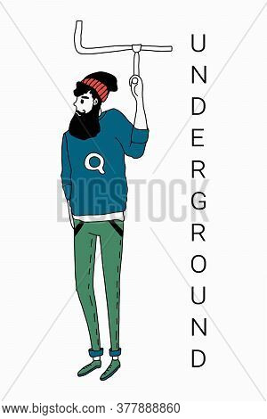 Two Hipster Men Drive Underground. Vector Illustration In A Simple Flat Style. Isolated On A White B