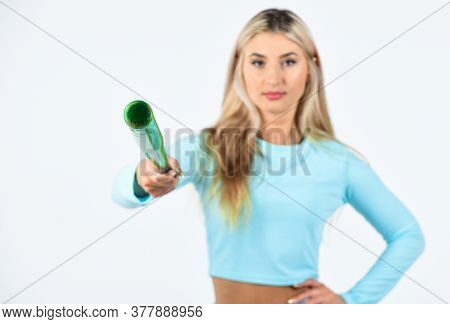 Softball Pitcher With Bat. Fitness And Sport Concept. Living A Healthy Life. Sporty Girl Isolated On