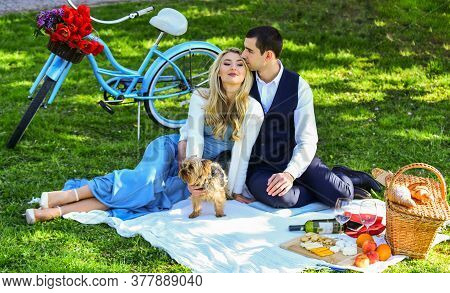 This Is Love. Happy Couple In Love. Woman And Man Lying In Park And Enjoying Day Together. Valentine