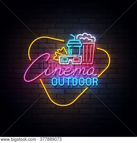 Outdoor Cinema Neon Sign, Drive-in Movie Theater With Cars On Open Air Parking Logo Neon, Emblem. Ve