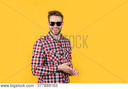 Male Beauty Trend. Bearded Man With Sexy Bristle In Glasses. Facial Hair And Skin Care. Handsome Man