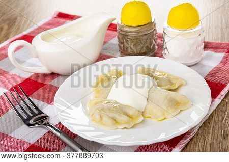 Sauce Boat With Sour Cream, Pepper And Salt Shakers, Few Boiled Dumplings With Sour Cream In White P