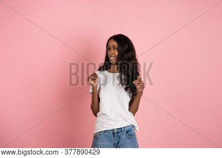 Disguasted, Wtf. Cheerful African-american Young Woman Isolated On Pink Background, Emotional And Ex