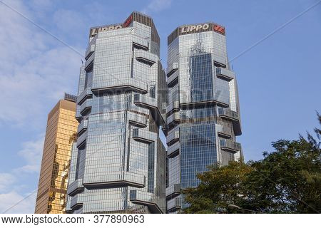 Hongkong, China - November, 2019: The Lippo Centre Twin Towers, Iconic Modern Architecture Buildings