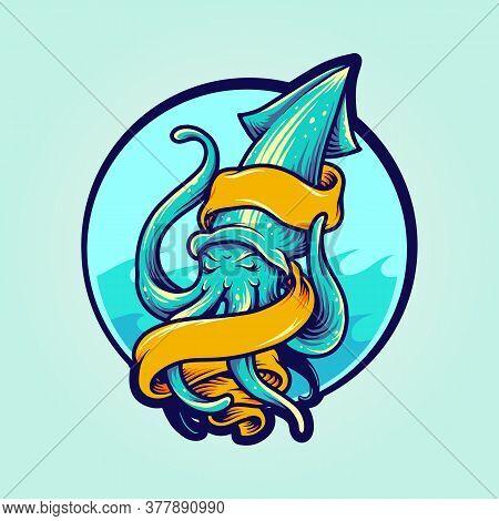 Calamari Logo Mascot With Banner For Logo Sea Food And Esports