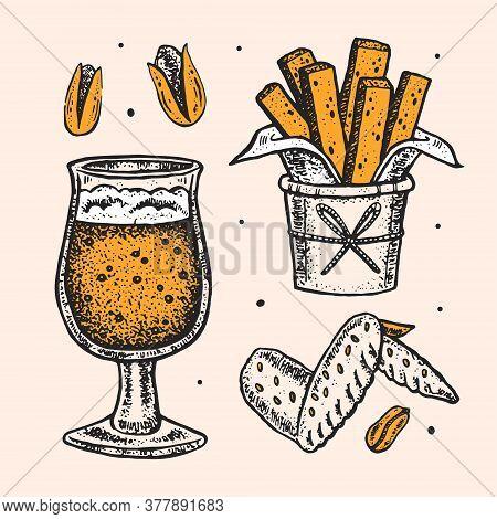 Oktoberfest Clip Art, Set Of Elements. Alcohol. Glass Of Craft Beer, Snacks, Fast Food. German Tradi