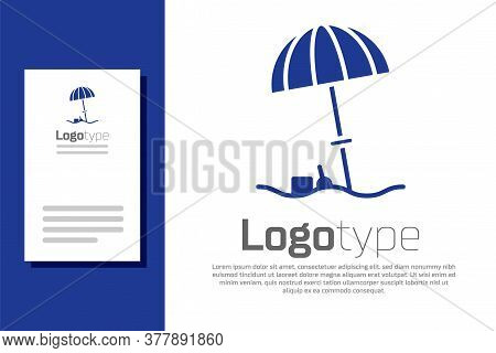 Blue Sun Protective Umbrella For Beach Icon Isolated On White Background. Large Parasol For Outdoor