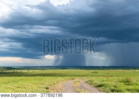 Farm Area In Southern Brazil And Cumulunimbus Clouds Causing Rain In Summer Afternoon